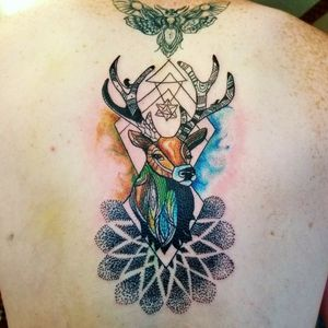 Watercolor geometric abstract stag