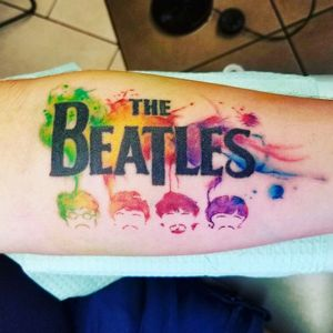 Abstract watercolor beatles tattoo