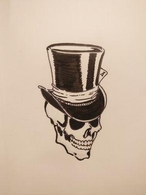 #tophat #skull #blackandwhite