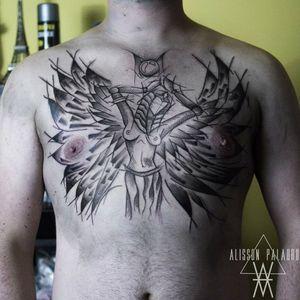 #blackwork #black #chest #chestpiece #isis #goddess #Egypt #mythology #MythologyTattoos #wings