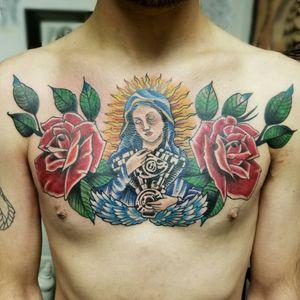 #tattooofinstagram #colortattoo #neotraditionaltattoo #mothermary #roses #vtwin #harleydavidsontattoo #chestpiece #customtattoo