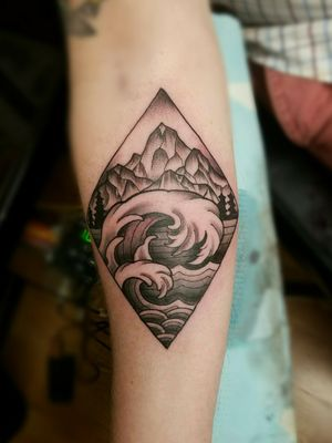#hipstertattoo #tattoooftheday #blackandgrey #landscapetattoo
