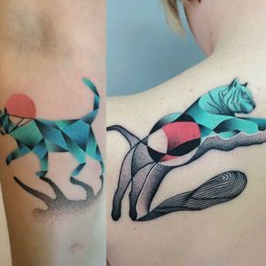 By #MariuszTrubisz #Tiger #cat #abstract #dotwork #geometric