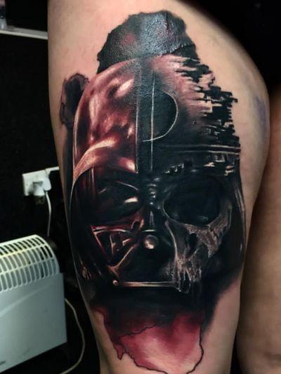 My star to a Star Wars themed leg cover... #starwars #darthvader #Deathstar #skulltattoo #blackandgreytattoo #colortattoo #thigh #oneofmany