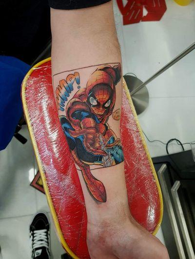 Comic style spiderman! #tokyotattoo #spiderman #comictattoo #popculture