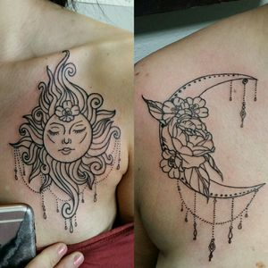 Matching Sun and Moon for some lovely lady friends by Bailie Waters