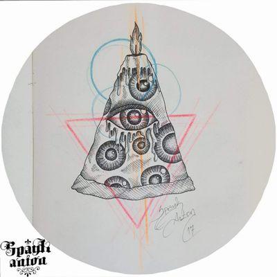 I hate pizza 😲 #tattoos #inked #sketchbook #sketchtattoo #tattoodesign #creativedesign #contemporarytattoo #contemporaryart #painter #pizza #pizzasketch #eyestattoo #eyessketch #triangletattoo #trianglesketch #triangle #circletattoo #circle #linework #dotwork #txttoo #tattism #tttism #candle #candlesketch