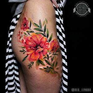 #watercolor #watercolortattoo #flowers #botanicaltattoo