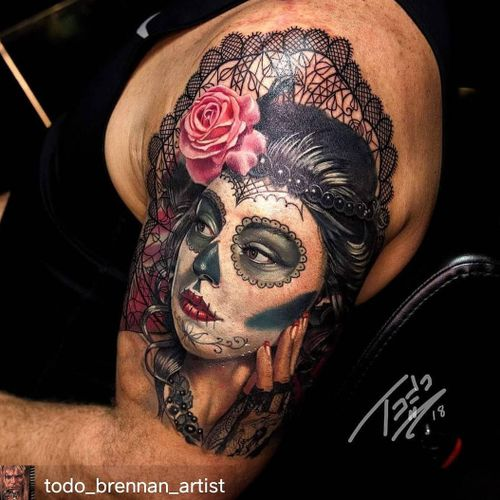 Lace Day of the Dead girl. #realismtattoo #realism #portraittattoo #portrait