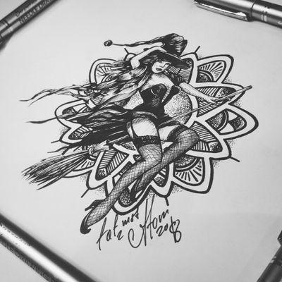 Тату эскиз - На Шабаш. Эскиз нарисован за три часа лайнерами ForDrawing и Superior. Тату мастер Вадим. Студия художественной татуировки и пирсинга Evolution. www.evotattoo.ru. Тел./WhatsApp: 8(925)5143553. #tattoo #tattoos #witch #witch_tattoo #witcher #line #mandala #tat2atom #design #draw #тату #тату_эскизы #ведьмочка #на_метле #тату_ведьмочка #ведьма #мандала #шабаш #лайнворк #татустудия #тату_эскизы_заказать #сделать_тату #художники #дизайнеры #искусство