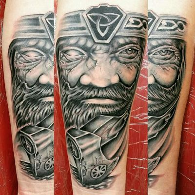 #heavybiggs #tattoooftheday #Odin #forearm #blackandgrey