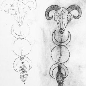 Witchceaft tattoo. #tete #sketch #apprenticetattoo #apprentice #learning #darktattoo #dark #blackandwhiteink