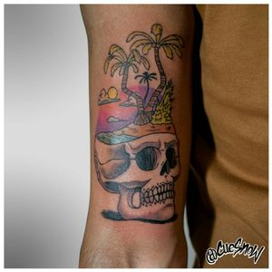 Caribbean skull #1 Dessign and tattoo by me IG : @cuesnow