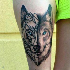 #wolf #wolftattoo #wolfhead #geometrictattoo #blueeyes