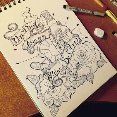 Un amor nunca se olvida #tattoo #draw #smoke #tequila #Hispanic #flower #tattooidea #bottle