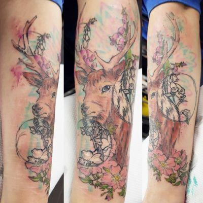 #illustrative #fineline #sketch #watercolour #stag #flowers #foxglove #blossom