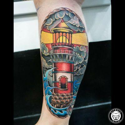 #oldschooltattoo #oldschooltattoos #lighthouse #lighthousetattoo #tattoooftheday