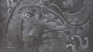 Ghost koi fish #drawing #thtattoo #tatuajebucuresti #oriental #koifish #waves