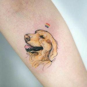 #dogtattoo #realism #animals #goldenretriever #minimalistic #colortattoo