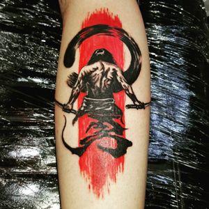 Samurai leg tattoo