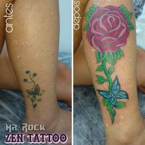 Cobertura Rosa. #zentattoo #mrrock #oblogdozen #rosa #roses #after #before #coveruptattoo #coverup #reformatattoo #coberturatatuagem #taquaritinga #taqua #instattoo #inklife #inklovers #tattoolife #tattoolovers #buterfly #borboleta
