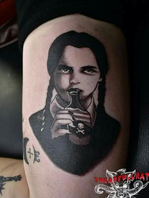 For some of us every day is Wednesday #adamsfamily #wednesdayaddams #wednesdayaddamstattoo #blackandgrey #blackandgreytattoo