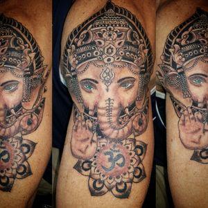 Ganesh tattoo #ganeshtattoo #hindutattoo #ohmtattoo #greywash #elephanttattoo