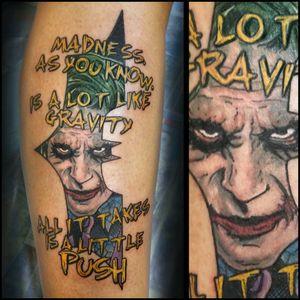 Joker #inkfusion #inkfusionempire #geektattoo #geekedouttattoos #geeksterink #geekytattoos #comicbooktattoo #nerdytattoos #nerdtattoo #nerdtattoos #bright_and_bold #traditionaltattoo #realtattoos #real_traditional #tattoos #tattooflash #neotraditional #solidtattoo #lasvegastattooer #dccomicstattoo #dccomics #batman #batmantattoo #joker #jokertattoo #thedarkknight