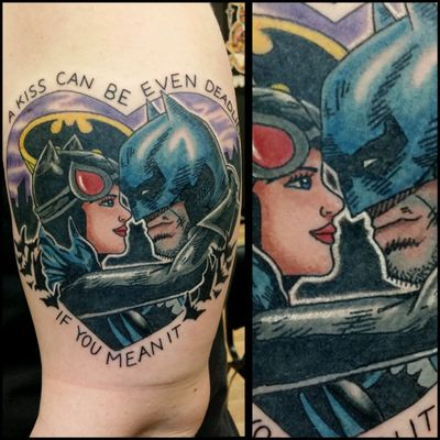 Bat and Cat #inkfusion #inkfusionempire #geektattoo #geekedouttattoos #geeksterink #geekytattoos #comicbooktattoo #nerdytattoos #nerdtattoo #nerdtattoos #bright_and_bold #traditionaltattoo #realtattoos #real_traditional #tattoos #tattooflash #neotraditional #solidtattoo #lasvegastattooer #dccomicstattoo #dccomics #batman #batmantattoo #catwoman #catwomantattoo