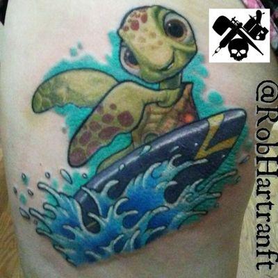 #squirt #findingnemo #surfing #disneytattoo #turtle #disney #newschooltattoo #NewSchoolArtist