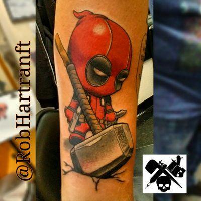 #deadpoolportrait #deadpooltattoo #Deadpool #dead #thor #thorshammer #godofthunder #nerdtattoo #comicbook #comics #cartoonish #NewSchoolArtist #newschooltattoo