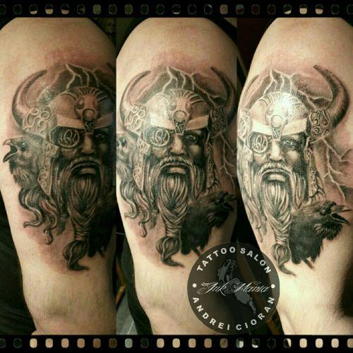 Viking tattoo #Odin #odintattoo #viking #vikingtattoo  #realistic  #radiantcolors #andreicioran #inkmaniatattoosalon