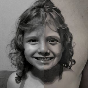 Retrato de Júlia meio a meio.