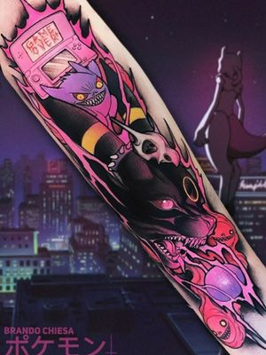 #Pokemon tattoo by #BrandoChiesa The only thing wrong with this tattoo is that it's not on me! #Umbreon #Gengar #Nintendo #NintendoDS #DS #gameover #ThePokemonCompany #GameFreak #Cubone #Cuboneskull