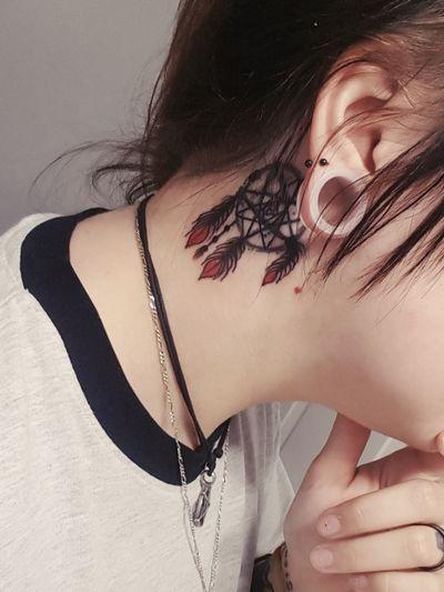 A #coverup from Patric at Stay True Tattoos in Sharpsburg, GA. #dreamcatchertattoo #dreamcatcher #feather #feathertattoo #behindtheeartattoo #necktattoo