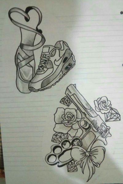#ballerinatattoo #ballerine #ballerina #pistola #pistols #pistol #rosa #rose #diamond #diamantes #diamante