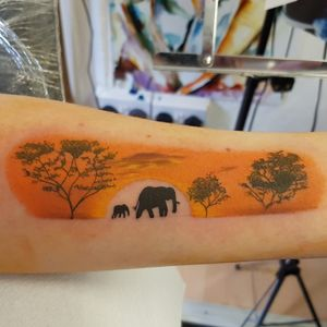 #sunsettattoo #elephanttattoo #silhouette #trees #landscapetattoo #colourtattoo #titchtattoo #everlongtattoo
