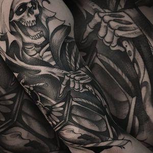 In progress #skeletontattoo #reapertattoo #death #sketchstyle #sketchtattoo #giulianocascella