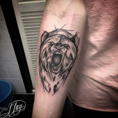 Bear tattoo by Tattoo J-Jay #bear #beartattoo #animalhead