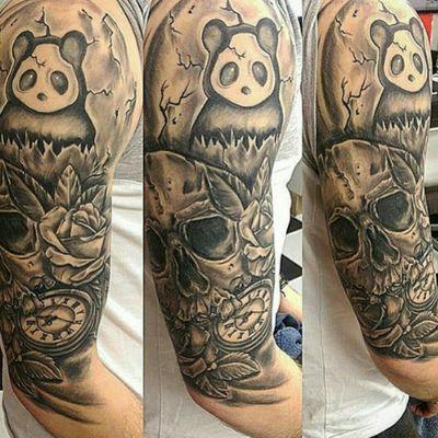 #skulltattoo #skull #pocketwatchtattoo #pocketwatch #roses #pandatattoo #panda