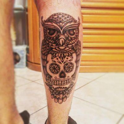 #skull #mexican # tattoo #gufo #italianboy #blackandgrey