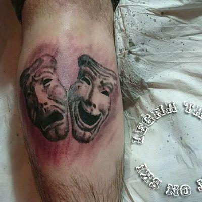 Black N White Photo Realism Tattoo Done By Legna (thanos Angeloudis) #tattoo #legna #thanosangeloudis #masks #tragedy #smilenowcrylater