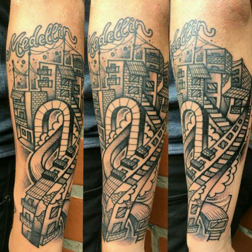 Architectonic surrealism about Medellin. #darkartists  #jj #instagramhub #iphoneographer #earlybird #iphoneasia #earlybirdlove #iphoneography #instagrammers #iphoneonly #iphoneartists #instagood #bestoftheday #instamood #picoftheday  #beautiful #pretty #statigram #inkstagram #instafamous #blacktattooing #blacktattooart #blackworkers_tattoo