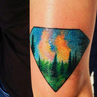 Galaxy diamond 👍 #diamond #galaxy #nightsky #pinetrees #trees #stars #space #colors #forest