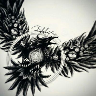 Crow tattoo design #customtattoo #crow #raven #surrealism #blackandgrey #blackwork #darkartists #tattoo