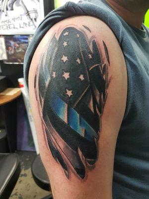 Cool American flag blue stripe piece thx for looking #realistic #blackandgrey #blackandgrey #americanflag