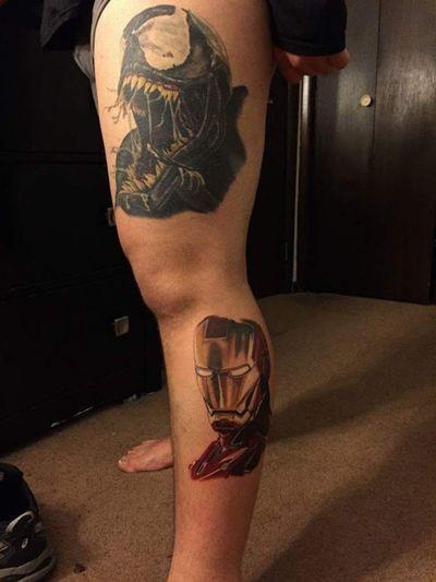 Iron Man and venom start of my marvel leg. Done at The Daruma Tattoo and Piercing company by Jey Collins and Bryan Perino #ironman #venom #MarvelTattoos #MarvelTattoo #comic #portait