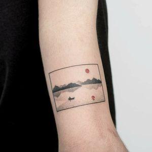 By #PontoTattoo #minimalist #dotwork #landscape #boat #siddhartha