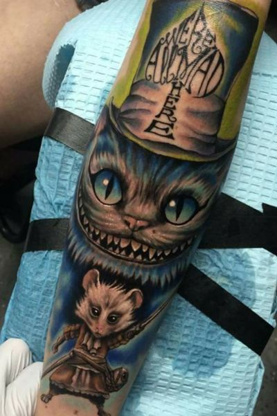 Were all mad here. #AliceinWonderlandtattoo #aliceinwonderland #cheshirecattattoo #cheshire #albuquerque #newmexicoartist #tatted #angelafoxinx #foxinx #Tattoodo #tattooart #work #art #artist #color #character #blast