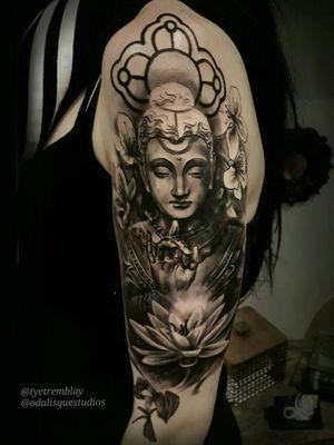 #Buddha #Buddhism #tranquility #lotus #religious #halfsleeve #inprogress #blackandgrey #realism